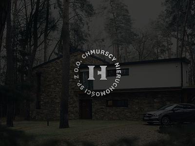 CH monogram home house column circle logo logo agency gate doors real estate monogram ch