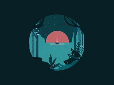 swampy swamp swamp dawn sunset green fire vector sun stars nature landscape illustration forest design