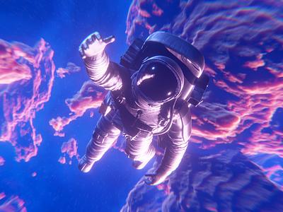Grab my hand nebula astronaut cosmos blender 3d