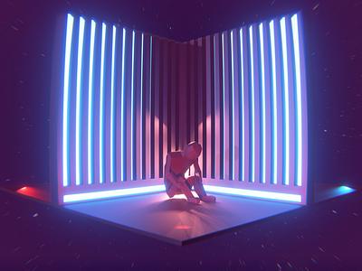 Anxiety synthwave vaporwave moody render anxiety eevee blender 3d