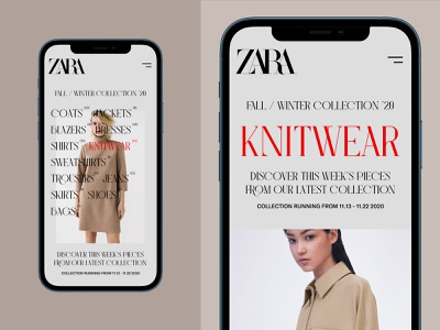 Fall/Winter Collections - Zara (Mobile) website userinterfacedesign ui ux designer ui  ux design ui design ui typography design