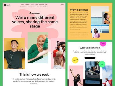Spotify Culture Page landing page website ui design ux design web design userinterfacedesign ui ux designer ui  ux design ui design ui design