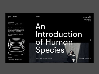 An Introduction of Human Species (V2) lettering userexperience web minimalistic design black landing page type website font design web design userinterfacedesign ui ux designer ui  ux design ui design ux design minimal layoutdesign ui design ui typography design