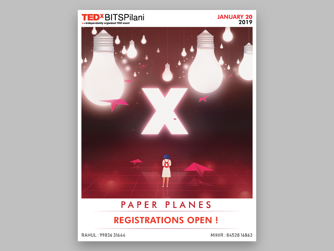 Ticket Release Poster- TEDx BITS Pilani 2019 ( Paper Planes ) vector ticket poster branding ted tedx art design illustration concept