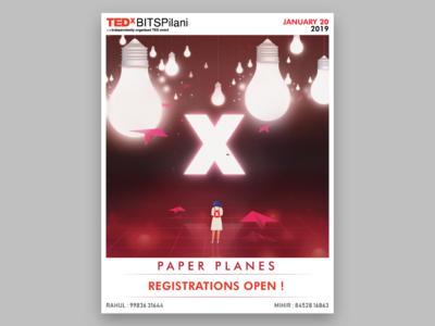 Ticket Release Poster- TEDx BITS Pilani 2019 ( Paper Planes )