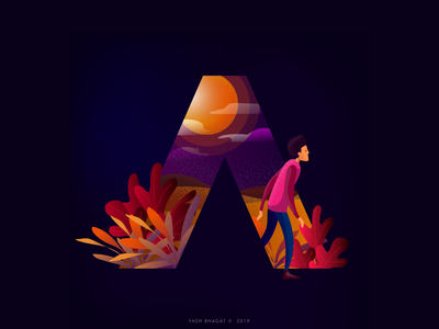A illustration icon typography 36daysoftype-a 36daysoftype vibrant colors vibrant gradient poster vector design art illustration concept