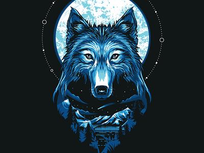 Wolf night lake sky stars mountains scenery animal moon moonlight mountain vector illustration wolves wolf art design