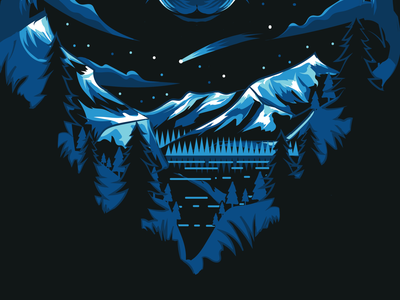 Mountains Illustration sky bluesky starlight sky stars snow forest water blues moonlight night wolf illustration art concept