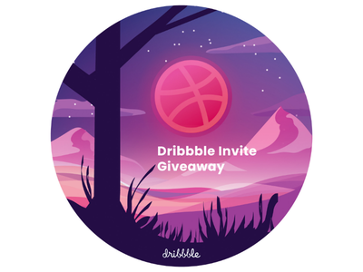 Dribbble Invite Giveaway player colorful color mountains sky moon pink illustration invites dribbble