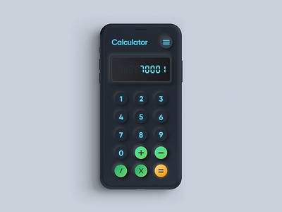 Skeuomorph Calculator Concept | Dark Mode dailyui ui  ux dark ui darkmode neon glow calculator neumorph skeuomorph mobile ui application app mobile adobexd uiux ux ui design concept