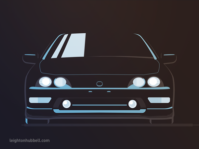 Type R illustration - refined reflection car automotive sport compact type r black vector blue icon illustration
