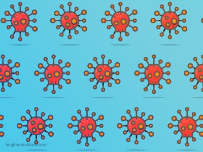 Virus pattern spike skull blue orange covid19 icon design illustration pattern icon