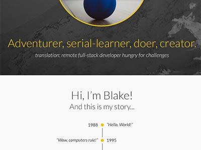 Personal Site website timeline portfolio story blakeowens.com blake owens personal site