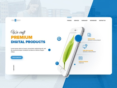 Homepage for a mobile / web development service web design digital products clean