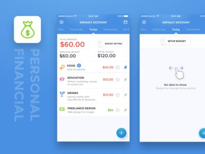 Personal financial app concept  budget personal money financial