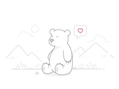 Bear <3 you line suggly love bear clean illustrator illustration
