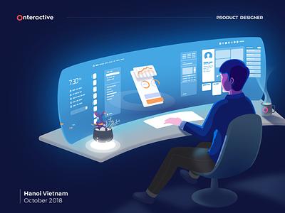Onteractive's product designer desk character perspective notisometric designspace interactive characterdesign dark widescreen sci-fi interface futuristic ar 3d designer illustration