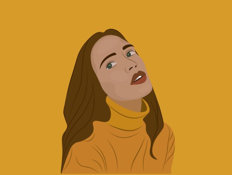 pretty in yellow🌻 illustration vector flat design