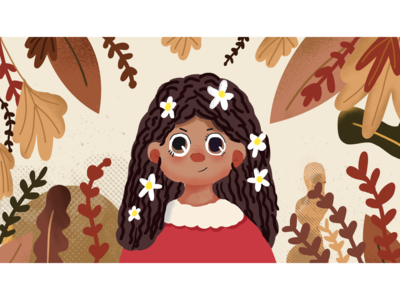 The girl surrounded by leaves