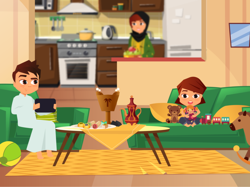 family in living room by Dina K Al Shair on Dribbble