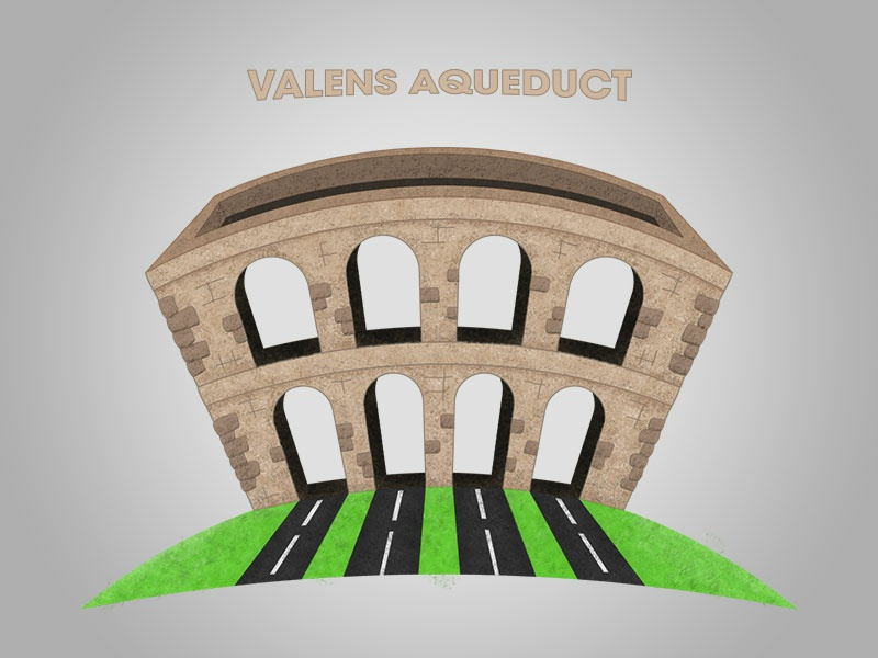 Valens Aqueduct history turkey ancient drawing vector istanbul illustration