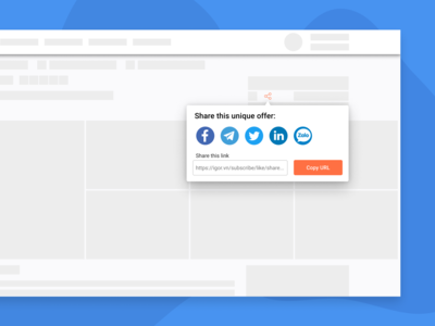 Social share popup for a website