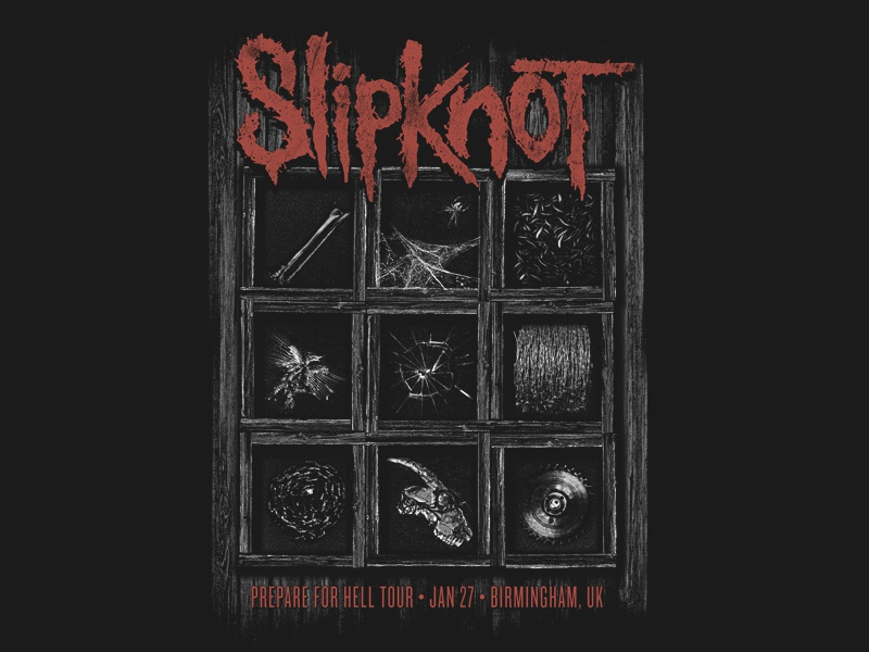 SLIPKNOT - Prepare for Hell Tour Poster slipknot metal gig poster poster horror dark skull skulls bones dead death hell
