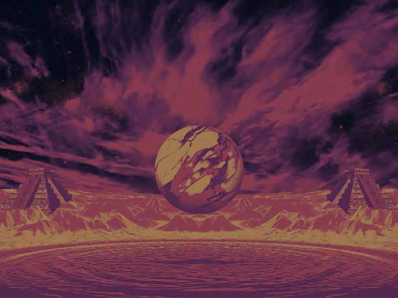 riviera maya pyramid sci-fi marble orb mayan psychedelic space