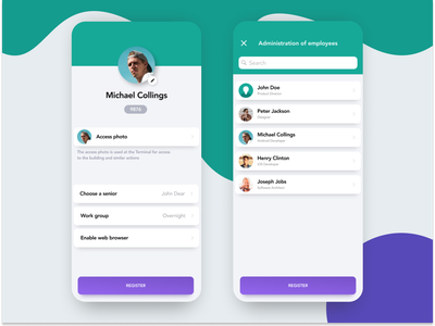 Administration of employees - Fingera attendance design uiux minimalistic mobileapp mobile ux ui app