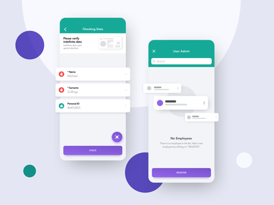 iOS App for Attendance system Fingera purple green ios white attendance design uiux minimalistic mobileapp mobile ux ui app