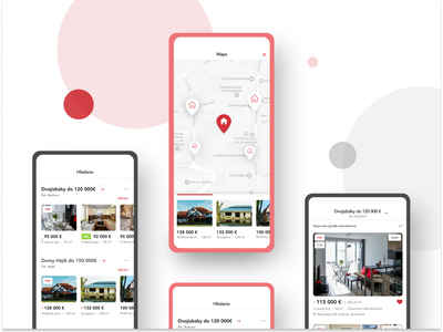 iOS App Nehnutelnosti - Biggest real estate in Slovakia red casestudy design uiux minimalistic mobileapp mobile ux ui app