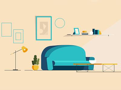 Living Room Shot4 vector art interior designer design app interior design interior gif ui branding design ux ui design adobe illustrator green couch couch living room vector illustration vector illustration