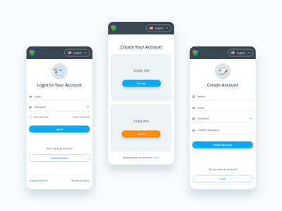 Create Account and Log In Form createaccount login application mobile clean animation app color typography minimal illustrator ux ui web illustration design