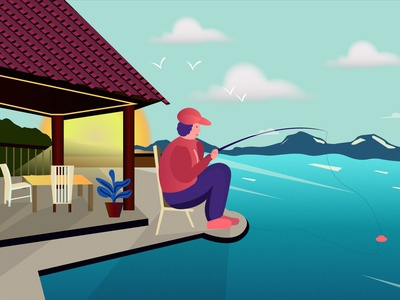 Fisherman seahouse house hills sea fish catch natural fisherman design vector illustration