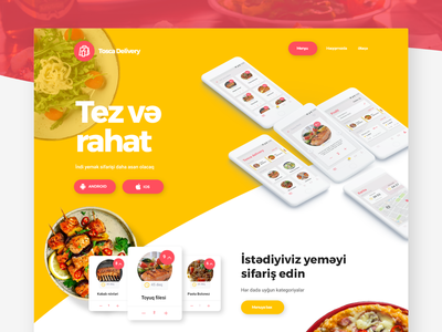 Food Delivery Landing with Free Adobe XD file mockup ui template xd template template xd adobe xd free fast food courier home page food and beverage menu restaurant landing website web design ux ui delivery food