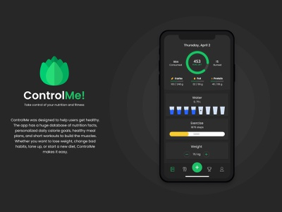 ControlMe: sport and nutrition app nutrition sport uxtrends dsgn webdesigning uxresearch usability newlogo interfacedesign app uidesigns uxdesigns