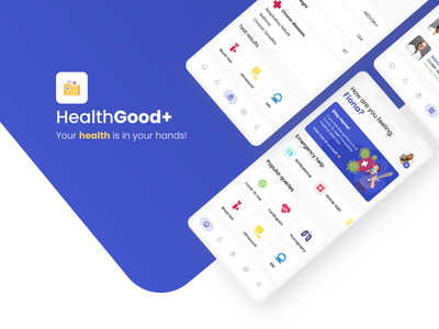 HealthGood+ Personal Healthcare App logo mobile design covid-19 covid app ios app ux ui hospital doctor ios health design