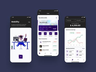 Banking App - Fintech Case Study illustration ios ux ui design transfer payment mobile case study wallet money credit card app fintech finance banking