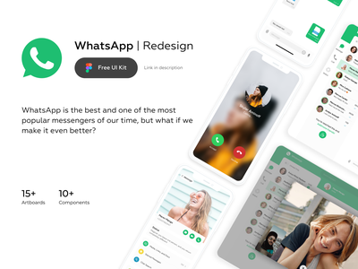 WhatsApp Redesign - Free UI Kit animation design system ui kit free ios app mobile communication 2020 trends application design interface chat messenger ux ui whatsapp