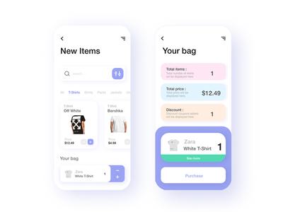 E-Commerce App Design ui quarantine bag shopping app 2020 app 2020 trends clean design clean app minimal app app commerce e commerce