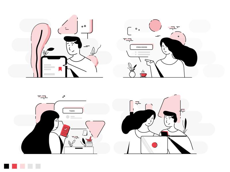UI Office Illustration albania designer branding monochrome modern design boy illustration girl illustration home illustration steps tutorial illustration save illustration startup office modern people ui ui illustration