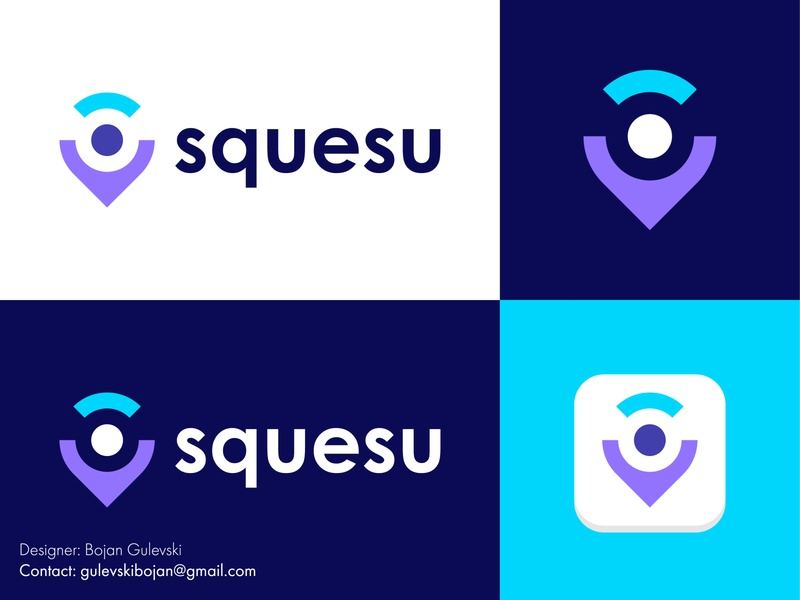 Location pin logo | Squesu Logo Design happy design logo creative character logo logo designer abstract logo minimalist logo design minimalist minimal flat app logo location app locations location tracker location pin logo pin logo location logo location pin location