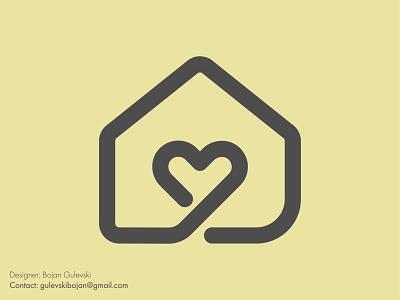 Home + Love house logo logo design logos logo design heart logo house roof heart love home