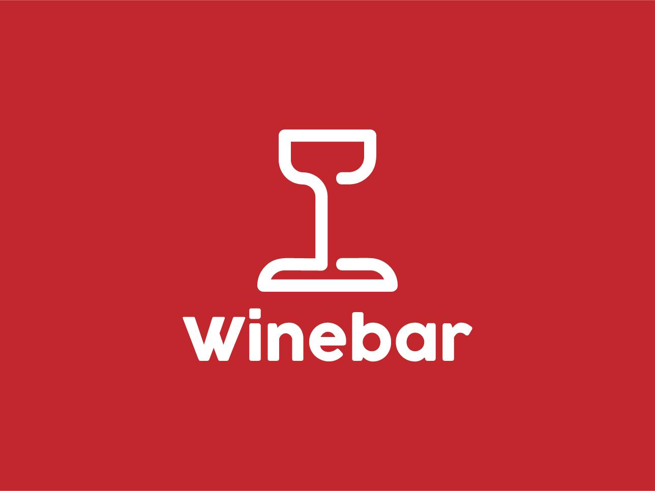 Winebar Logo clean design logo 2019 professional minimalist icon vector branding flat bars bar red classy glass wine bottle wine glass wine label winery wine