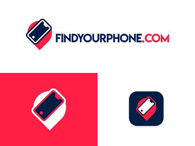 FindYourPhone design flat logo phone icon location icon location logo tracking app track location app location pin finder phone app icon pin cellphone phone location find