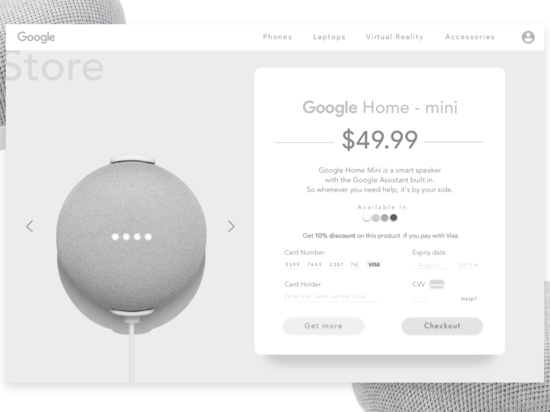 Google Home Product Page in Monochrome. branding ui ux monochrome blackandwhite design googlehome google