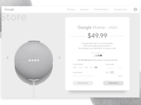 Google Home Product Page in Monochrome.