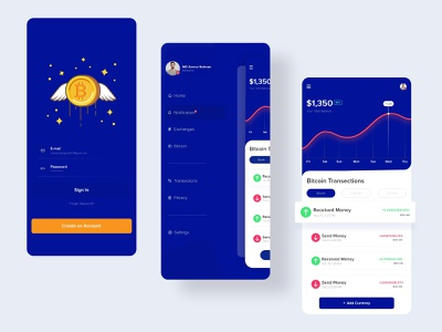 Crypto Wallet App graphicdesign gradient graphic icons illustration designs figma ios exchange wallet app wallet crypto exchange cryptocurrency crypto wallet ux ui dribbble best shot clean design typography