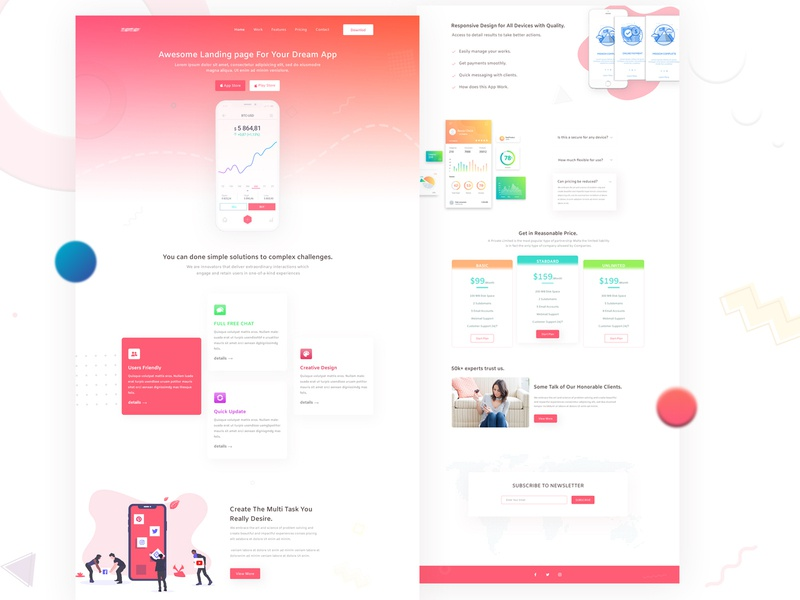 App Landing Page illustration dailyui app website 2018 best shot 2019 trend landing page dribble ui vector dribbble best shot ux typography design clean brand