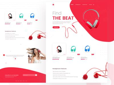 Headphone- flat minimal product design dailyui typography clean brand headphone ecommerce landing page website web ux ui